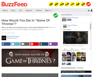 How Would You Die In Game Of Thrones by BuzzFeed for HBO